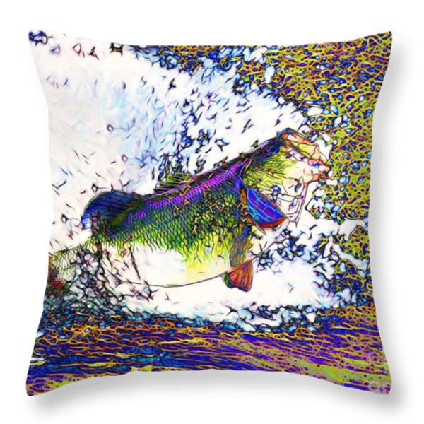 Largemouth Bass p68 Throw Pillow by Wingsdomain Art and Photography