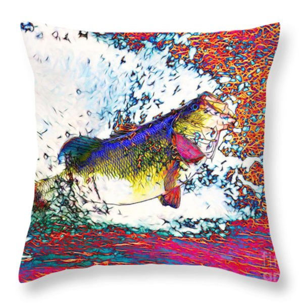 Largemouth Bass Throw Pillow by Wingsdomain Art and Photography