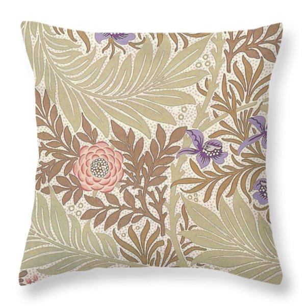 Larkspur Design Throw Pillow by William Morris