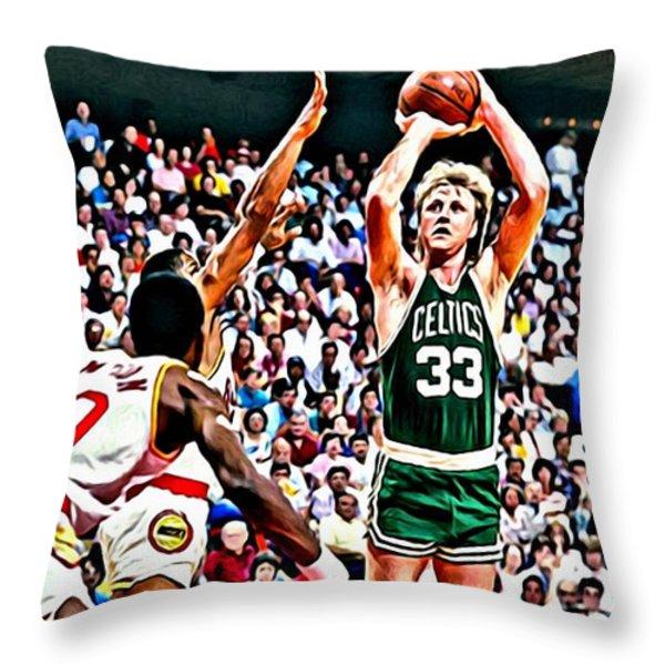 Larry Bird Throw Pillow by Florian Rodarte