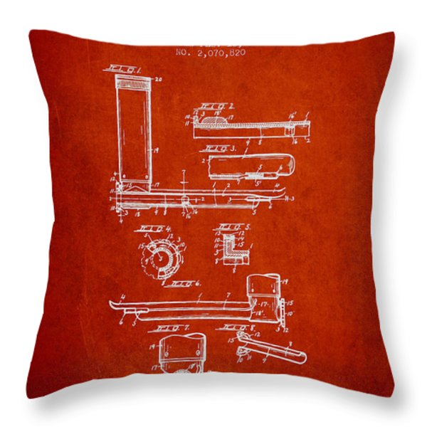 Laryngoscope Patent From 1937  - Red Throw Pillow by Aged Pixel