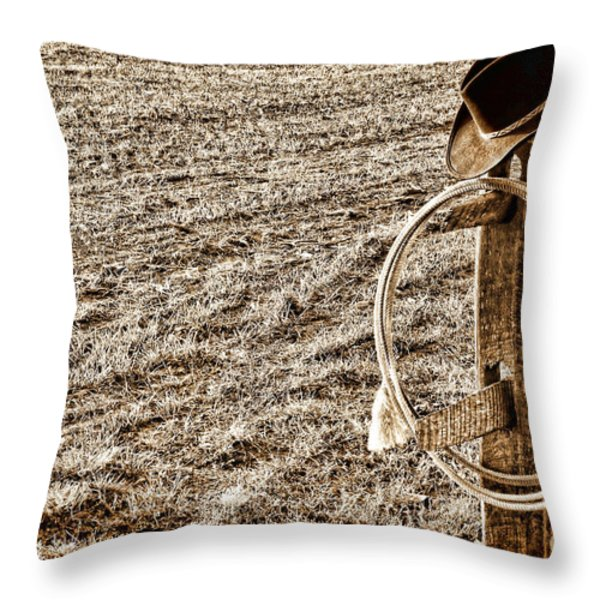 Lasso And Hat On Fence Post Throw Pillow by Olivier Le Queinec