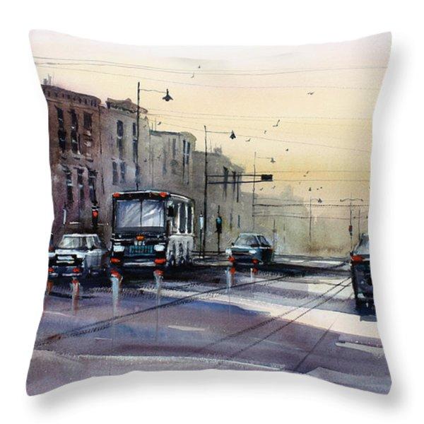 Last Light - College Ave. Throw Pillow by Ryan Radke