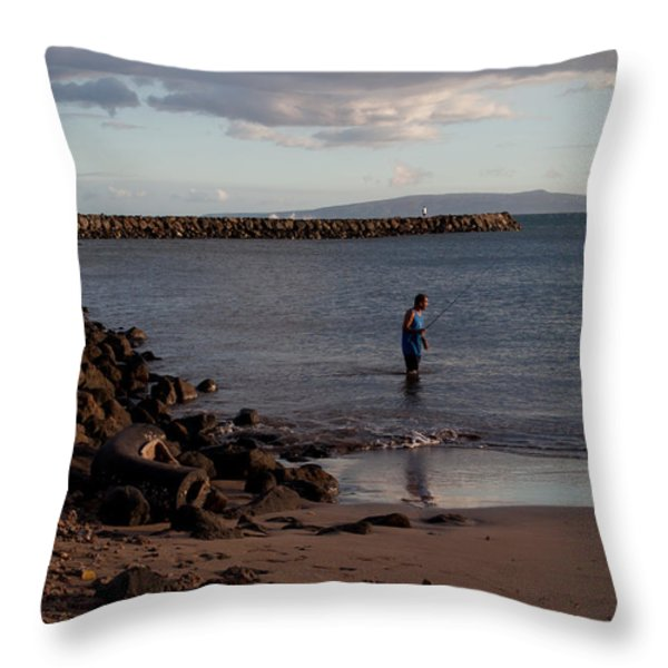 Late Afternoon Angler - Maalaea-maui Throw Pillow by Paulette B Wright