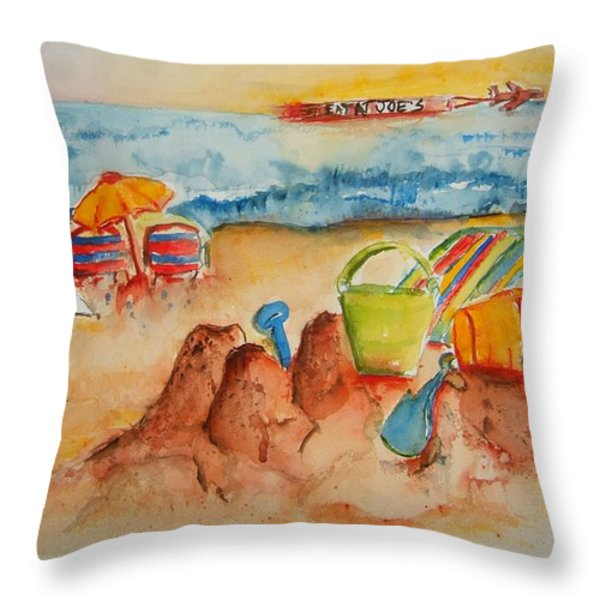 Late Afternoon Beach Throw Pillow by Elaine Duras