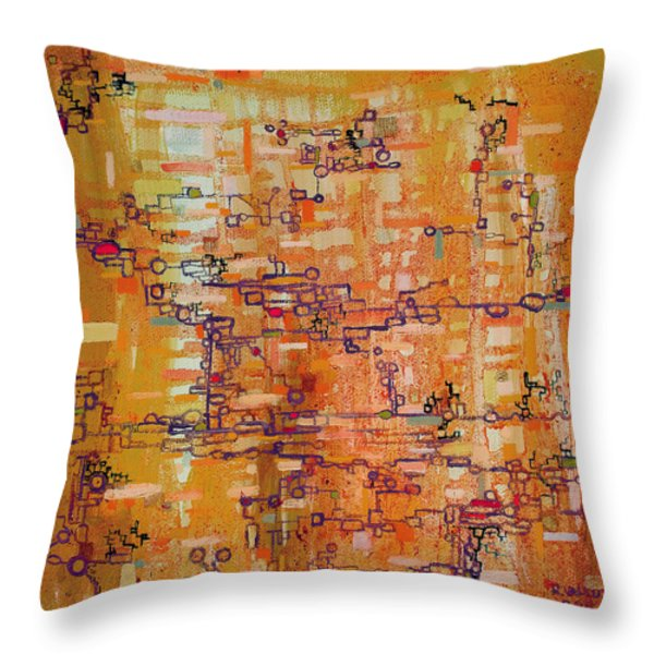 Lattice Animals Abstract Oil Painting by Regina Valluzzi Throw Pillow by Regina Valluzzi