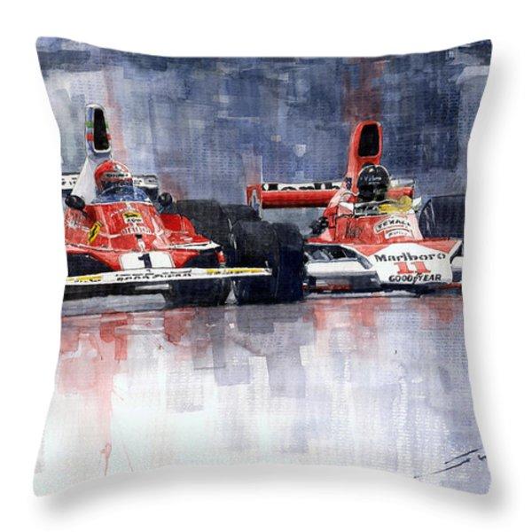 Lauda vs Hunt Long Beach US GP 1976  Throw Pillow by Yuriy Shevchuk