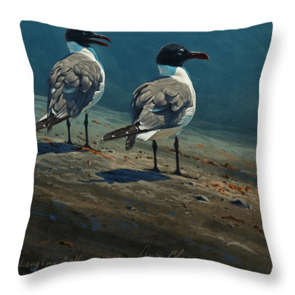 Laughing Gulls Throw Pillow by Aaron Blaise
