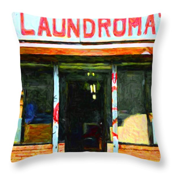 Laundromat 20130731pop Throw Pillow by Wingsdomain Art and Photography