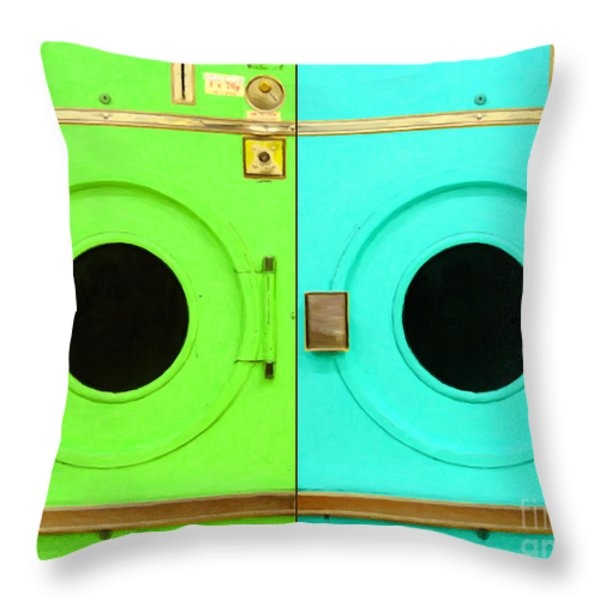 Laundromat Drying Machines Two 20130801b Throw Pillow by Wingsdomain Art and Photography