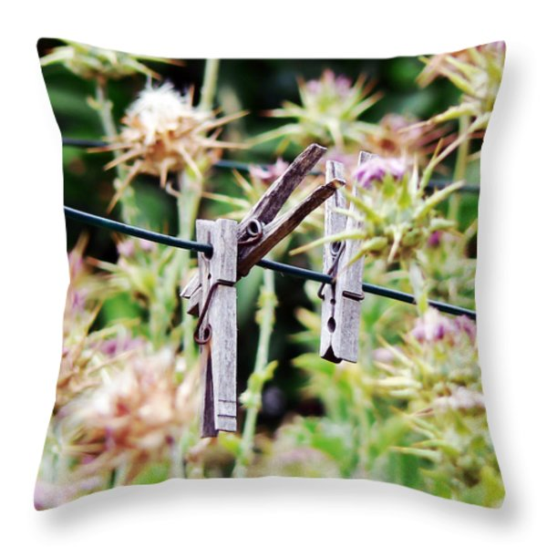 Laundry Day Forgotten Throw Pillow by Pamela Patch
