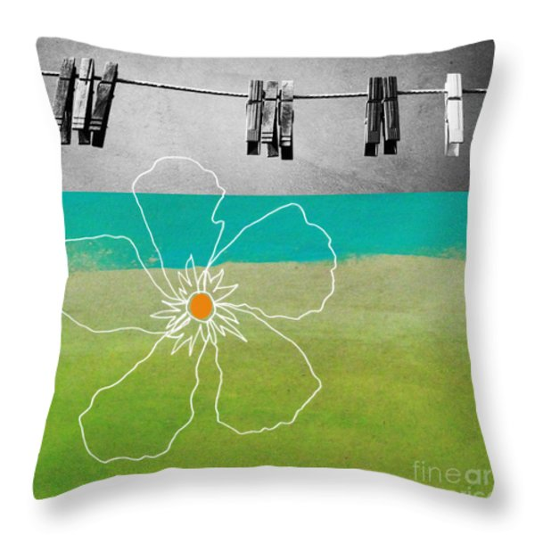 Laundry Day Throw Pillow by Linda Woods
