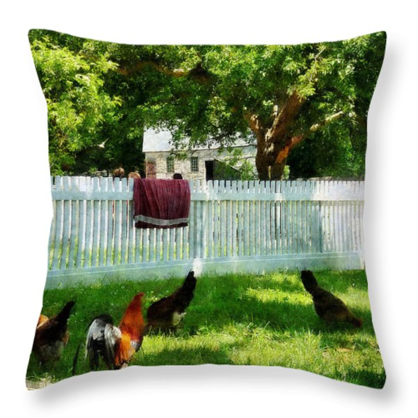 Laundry Hanging On Fence Throw Pillow by Susan Savad