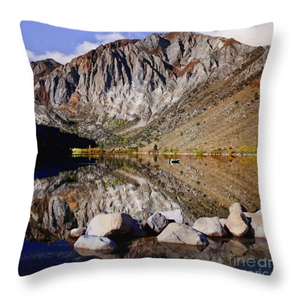 Laural Mountain Convict Lake California Throw Pillow by  Bob and Nadine Johnston