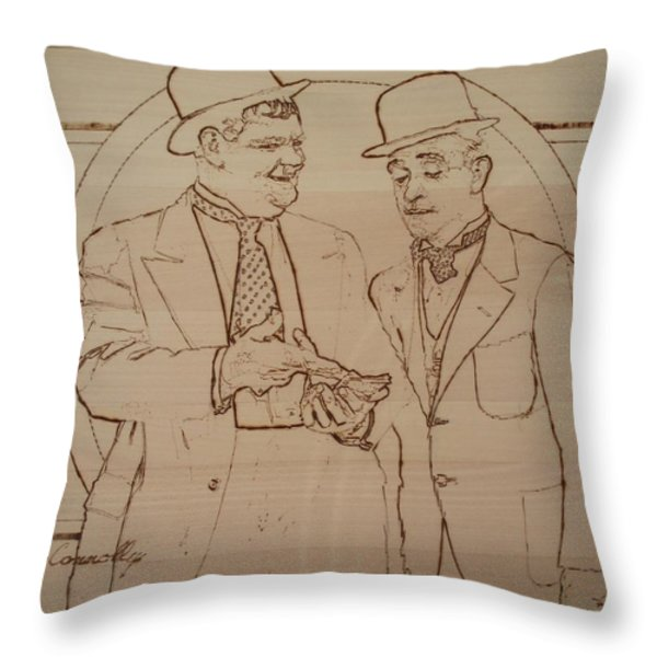 Laurel And Hardy - Thicker Than Water Throw Pillow by Sean Connolly