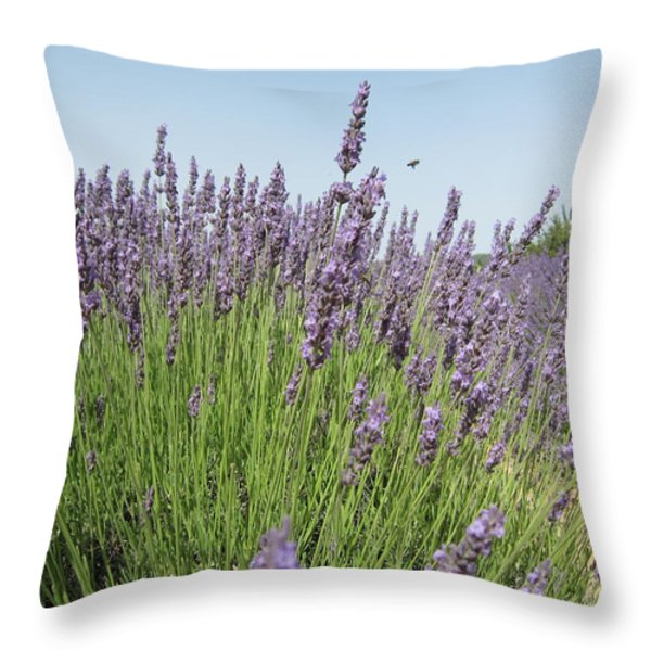 Lavender And The Bee Throw Pillow by Pema Hou