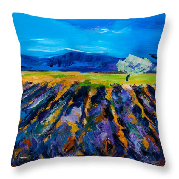 Lavender field Throw Pillow by Elise Palmigiani