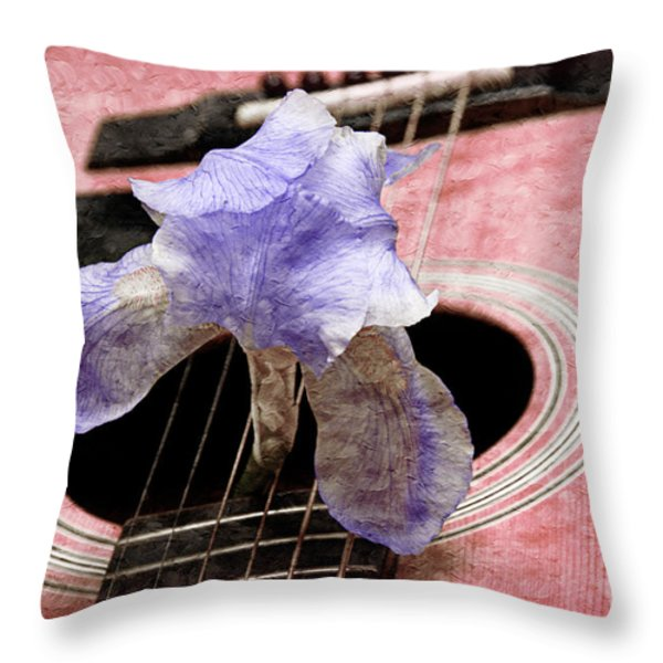 Lavender Iris And Acoustic Guitar - Texture - Music - Musical Instrument - Painterly - Pink Throw Pillow by Andee Design