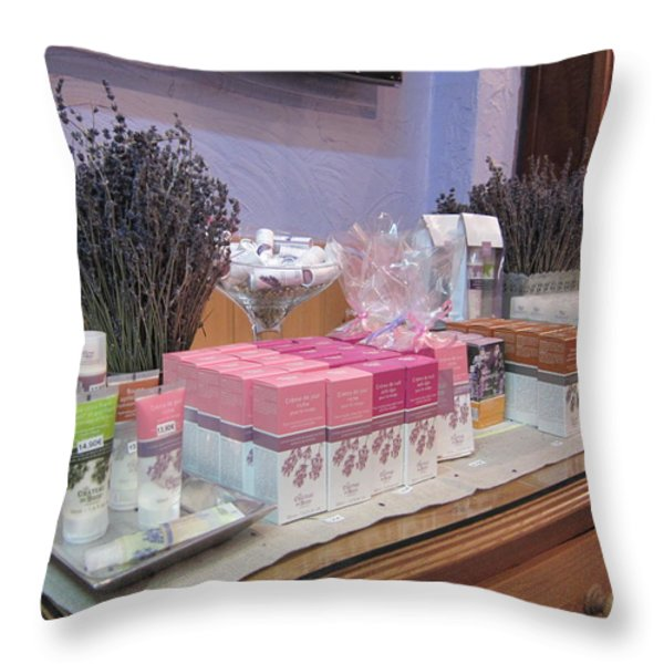Lavender Museum Shop 2 Throw Pillow by Pema Hou