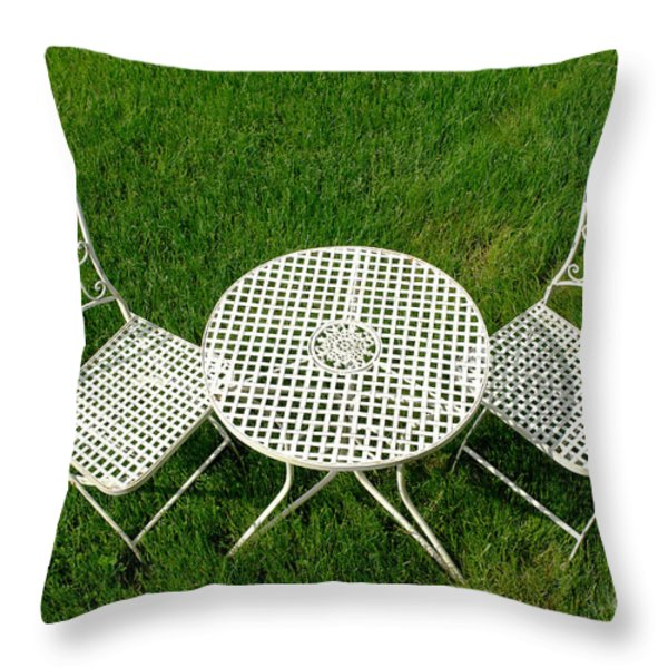 Lawn Furniture Throw Pillow by Olivier Le Queinec