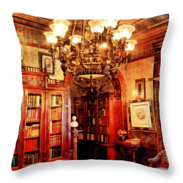 Lawyer - In the Library Throw Pillow by Mike Savad