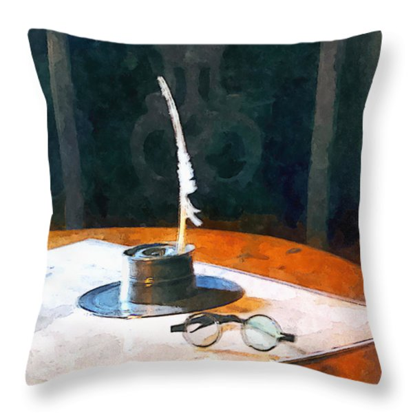 Lawyer - Quill And Spectacles Throw Pillow by Susan Savad