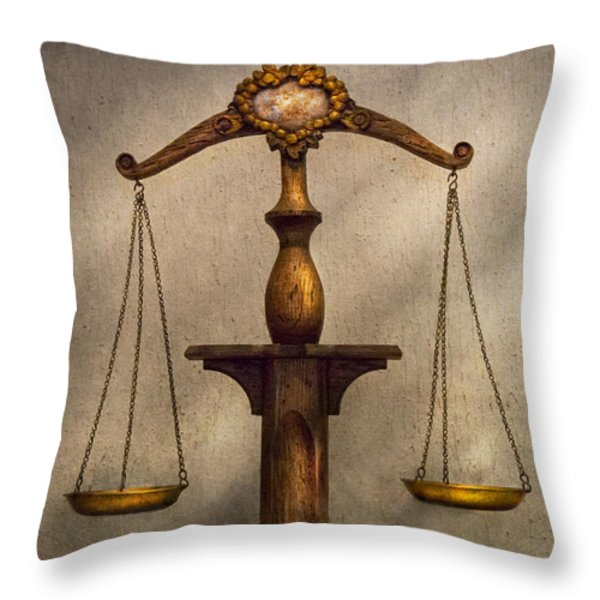 Lawyer - Scale - Fair and Just Throw Pillow by Mike Savad