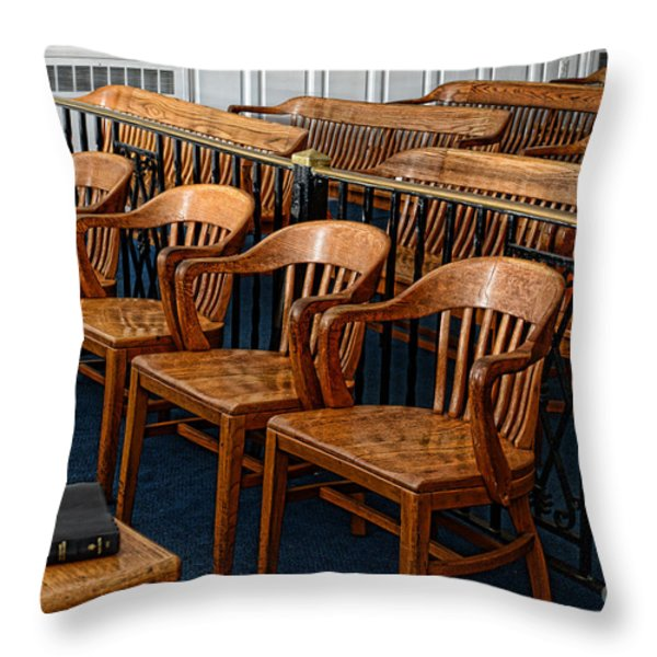 Lawyer - The Courtroom Throw Pillow by Paul Ward
