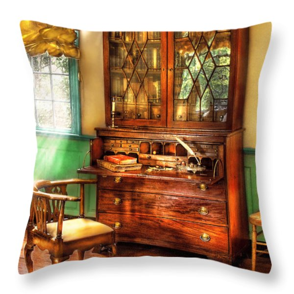 Lawyer - The Lawyers study Throw Pillow by Mike Savad