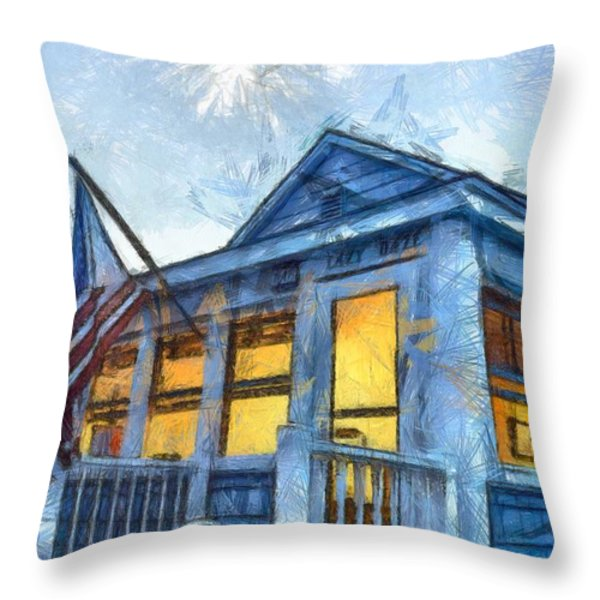 Lazy Daze Beach Cottage Pencil Sketch Throw Pillow by Edward Fielding