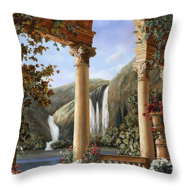Le Cascate Throw Pillow by Guido Borelli