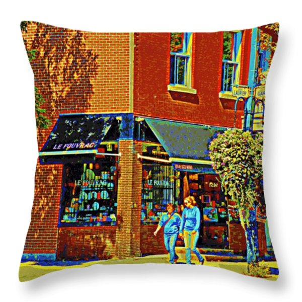 Le Fouvrac Foods Chocolates And Coffee Shop Corner Garnier And Laurier Montreal Street Scene Throw Pillow by Carole Spandau