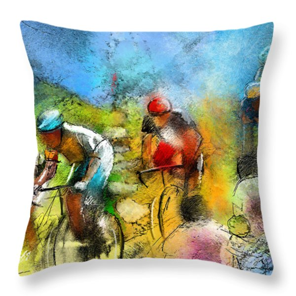 Le Tour De France 01 Throw Pillow by Miki De Goodaboom