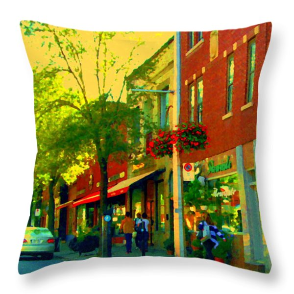 Le Trio French Speciality Shops Fleuriste Patissier Chocolatier Montreal Street Scene Carole Spandau Throw Pillow by Carole Spandau