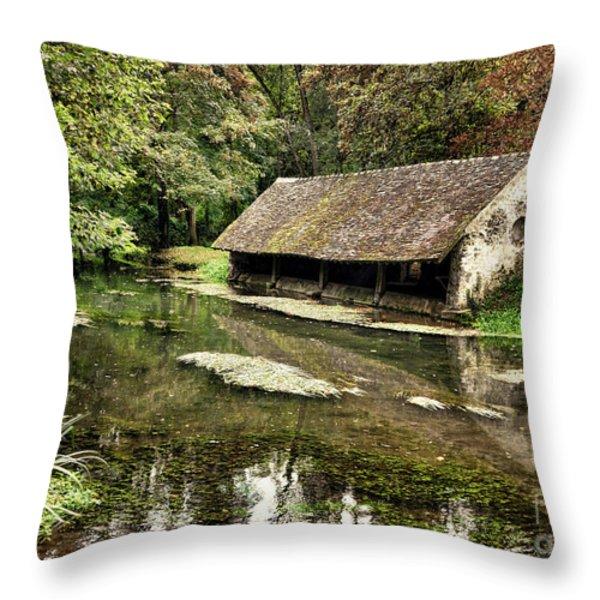 Le Vieux Lavoir Throw Pillow by Olivier Le Queinec