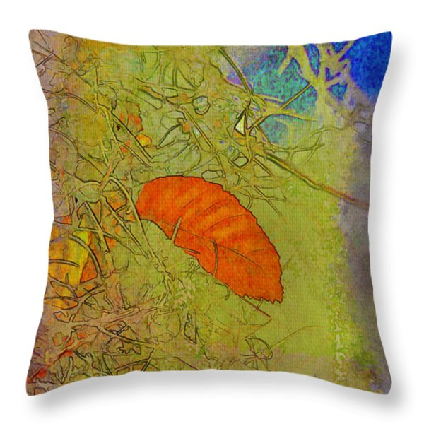 Leaf In The Moss Throw Pillow by Deborah Benoit