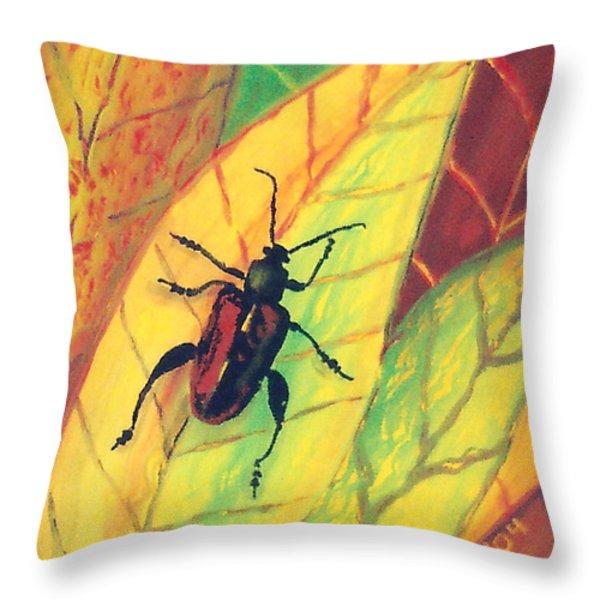 Leaf Surfer Throw Pillow by Anna Skaradzinska