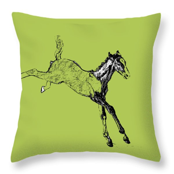 Leaping Foal Throw Pillow by JAMART Photography