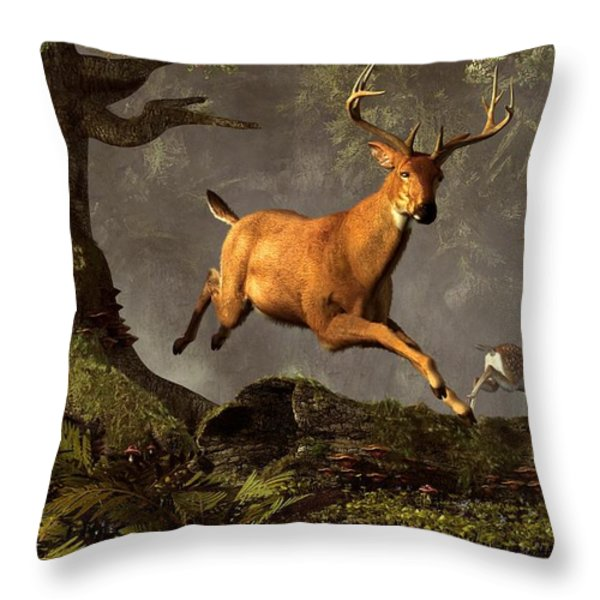 Leaping Stag Throw Pillow by Daniel Eskridge