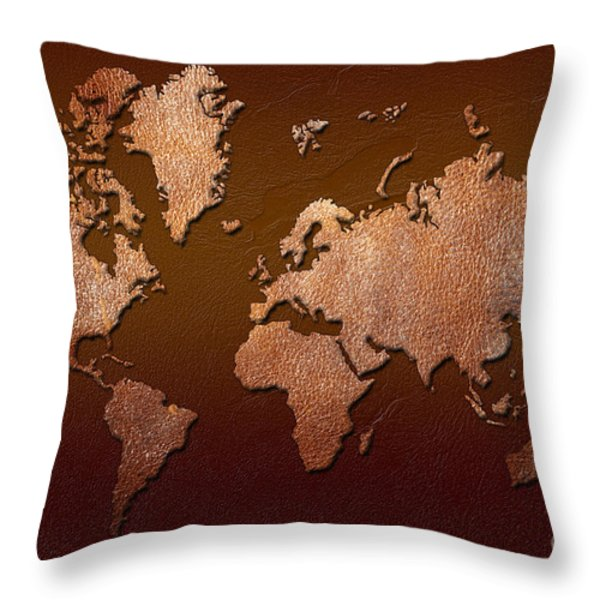 Leather World Map Throw Pillow by Zaira Dzhaubaeva