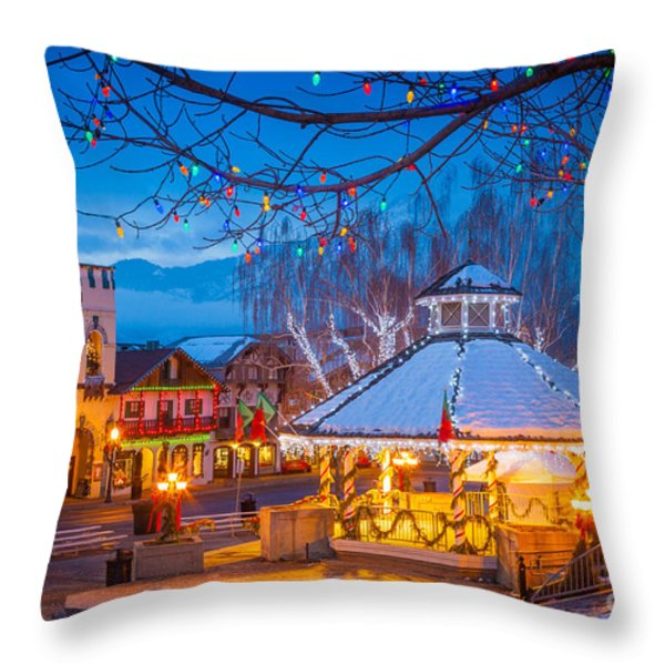 Leavenworth Gazebo Throw Pillow by Inge Johnsson