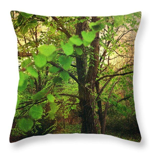 Leaves in My Hair Throw Pillow by Laurie Search