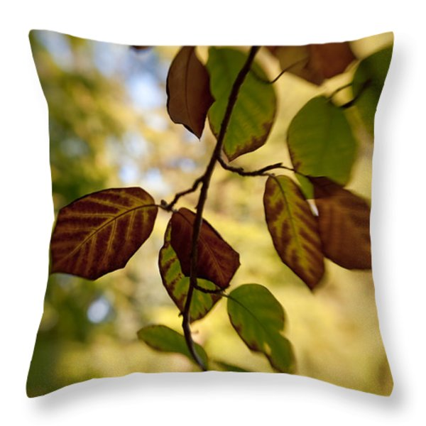 Leaves in the Breeze Throw Pillow by Venetta Archer