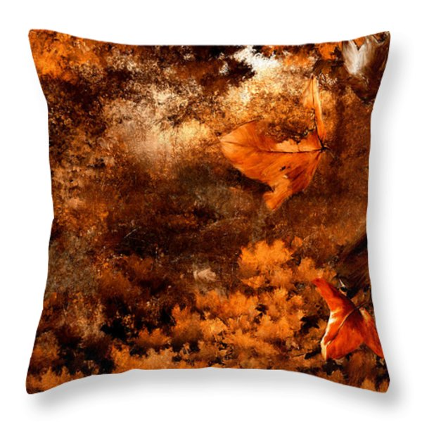 Leaves of Gold Throw Pillow by Lourry Legarde