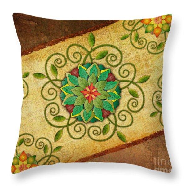 Leaves Rosette 1 Throw Pillow by Bedros Awak