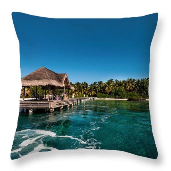 Leaving Kuramathi Resort. Maldives Throw Pillow by Jenny Rainbow
