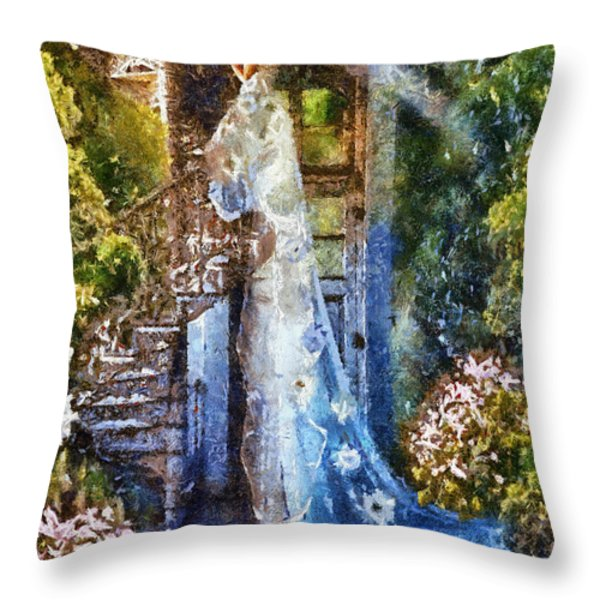 Leaving Wonderland Throw Pillow by Mo T