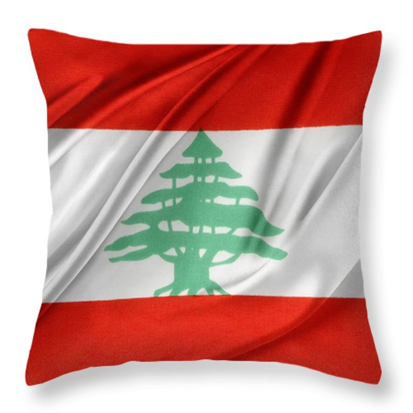 Lebanese Flag Throw Pillow by Les Cunliffe