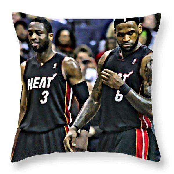 LeBron James and Dwyane Wade Throw Pillow by Florian Rodarte