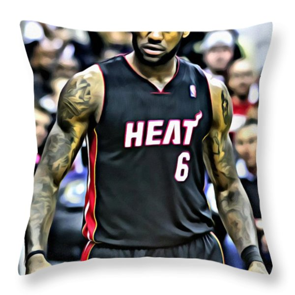 LeBron James Portrait Throw Pillow by Florian Rodarte